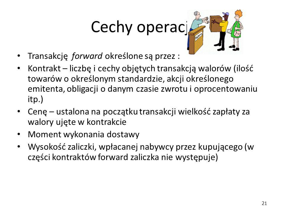 21 Cechy operacji Transakcję forward określone są przez : Kontrakt – liczbę i cechy objętych transakcją walorów (ilość towarów o określonym standardzi