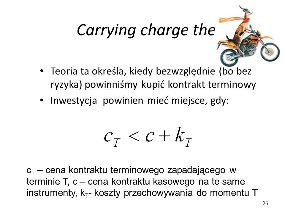 26 Carrying charge theory Teoria ta określa, kiedy bezwzględnie (bo bez ryzyka) powinniśmy kupić kontrakt terminowy Inwestycja powinien mieć miejsce, gdy: c T – cena kontraktu terminowego zapadającego w terminie T, c – cena kontraktu kasowego na te same instrumenty, k T - koszty przechowywania do momentu T