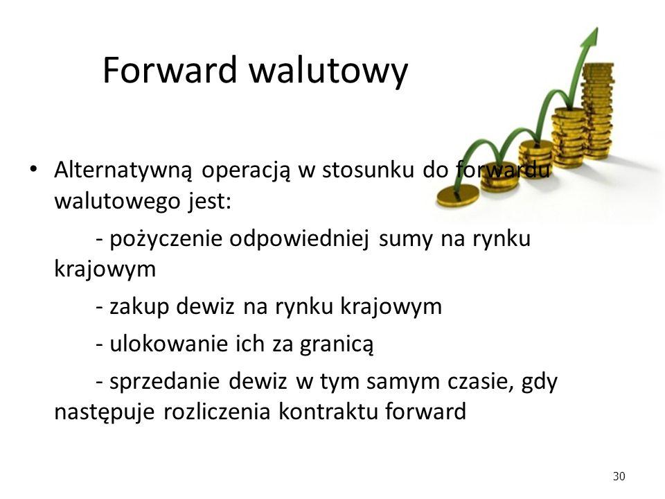 30 Forward walutowy Alternatywną operacją w stosunku do forwardu walutowego jest: - pożyczenie odpowiedniej sumy na rynku krajowym - zakup dewiz na rynku krajowym - ulokowanie ich za granicą - sprzedanie dewiz w tym samym czasie, gdy następuje rozliczenia kontraktu forward