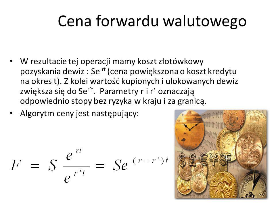 31 Cena forwardu walutowego W rezultacie tej operacji mamy koszt złotówkowy pozyskania dewiz : Se -rt (cena powiększona o koszt kredytu na okres t). Z