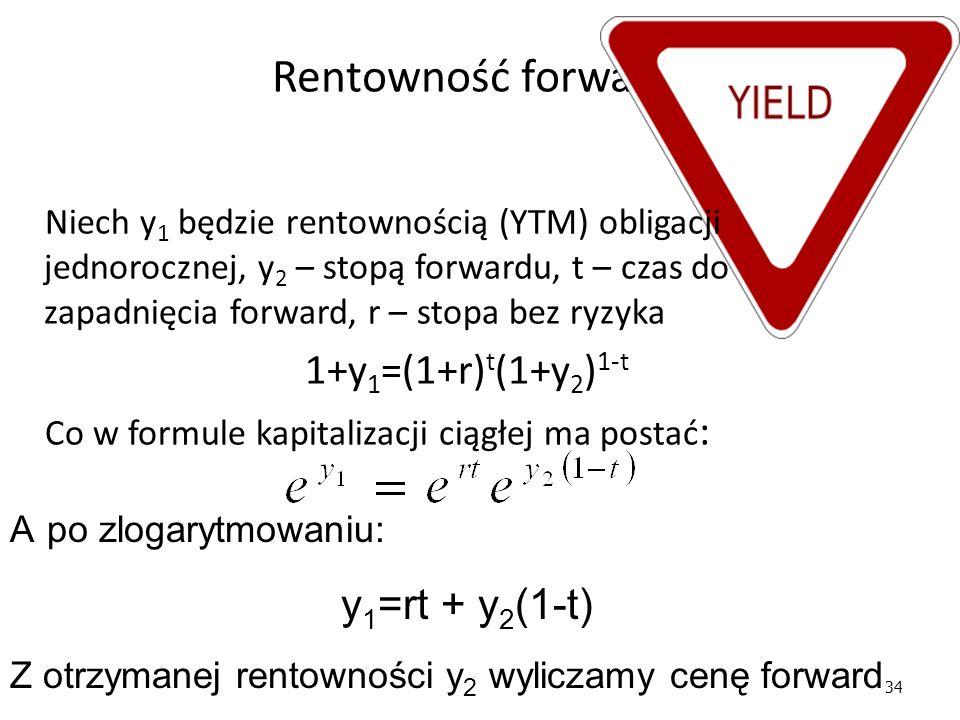34 Rentowność forward A po zlogarytmowaniu: y 1 =rt + y 2 (1-t) Z otrzymanej rentowności y 2 wyliczamy cenę forward Niech y 1 będzie rentownością (YTM) obligacji jednorocznej, y 2 – stopą forwardu, t – czas do zapadnięcia forward, r – stopa bez ryzyka 1+y 1 =(1+r) t (1+y 2 ) 1-t Co w formule kapitalizacji ciągłej ma postać :