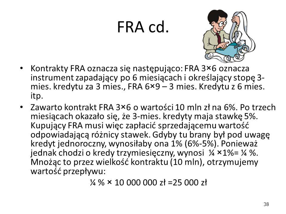 38 FRA cd. Kontrakty FRA oznacza się następująco: FRA 3×6 oznacza instrument zapadający po 6 miesiącach i określający stopę 3- mies. kredytu za 3 mies