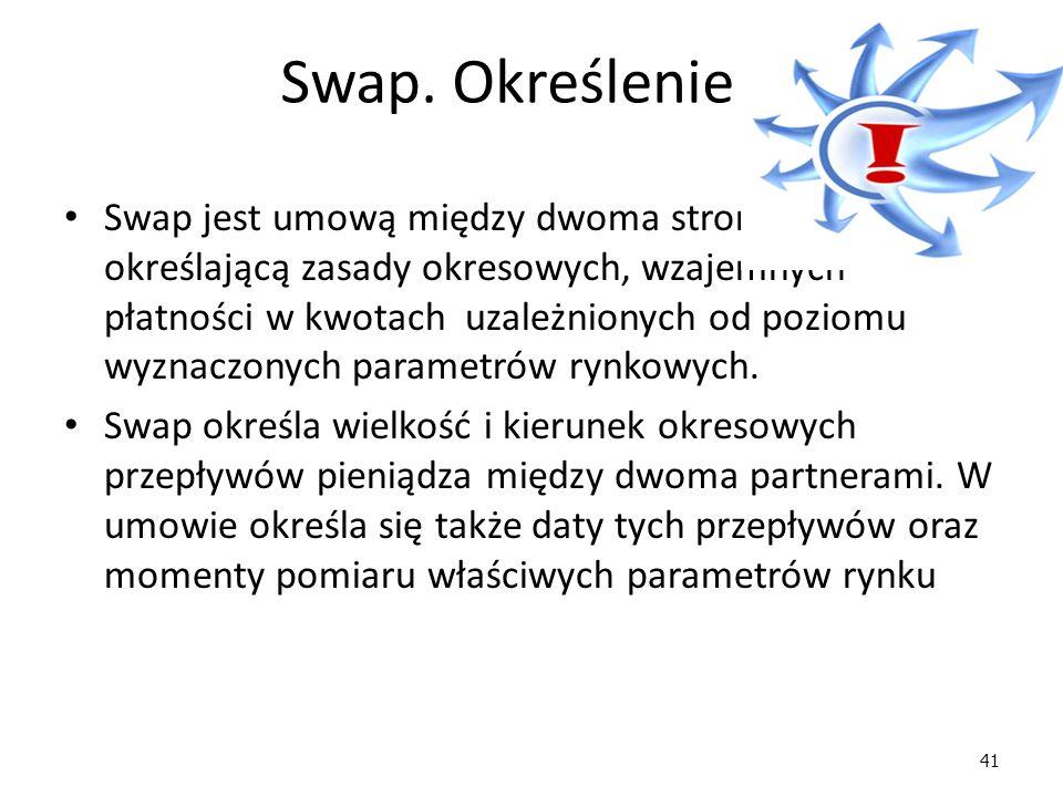 41 Swap. Określenie Swap jest umową między dwoma stronami, określającą zasady okresowych, wzajemnych płatności w kwotach uzależnionych od poziomu wyzn