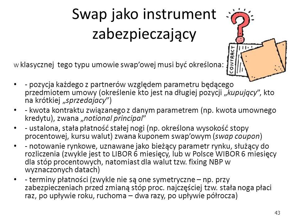 """43 Swap jako instrument zabezpieczający W klasycznej tego typu umowie swap'owej musi być określona: - pozycja każdego z partnerów względem parametru będącego przedmiotem umowy (określenie kto jest na długiej pozycji """"kupujący , kto na krótkiej """"sprzedajacy ) - kwota kontraktu związanego z danym parametrem (np."""