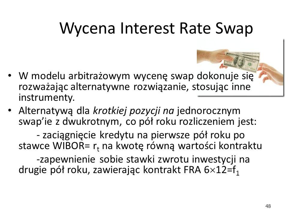 48 Wycena Interest Rate Swap W modelu arbitrażowym wycenę swap dokonuje się rozważając alternatywne rozwiązanie, stosując inne instrumenty. Alternatyw