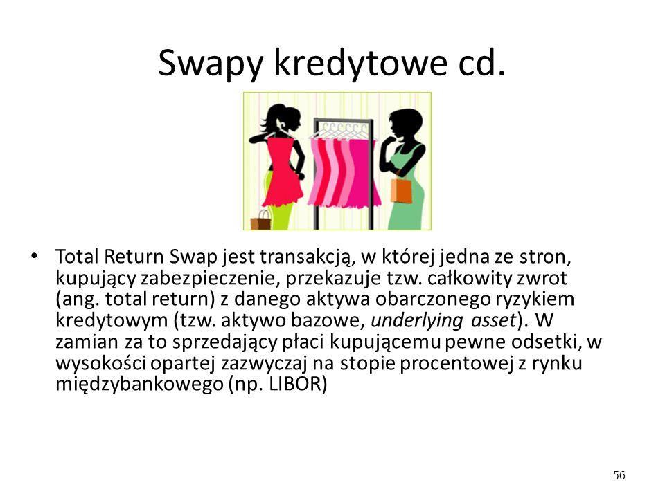 56 Swapy kredytowe cd. Total Return Swap jest transakcją, w której jedna ze stron, kupujący zabezpieczenie, przekazuje tzw. całkowity zwrot (ang. tota