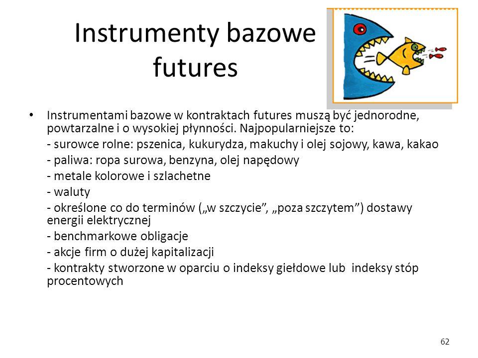 62 Instrumenty bazowe futures Instrumentami bazowe w kontraktach futures muszą być jednorodne, powtarzalne i o wysokiej płynności. Najpopularniejsze t