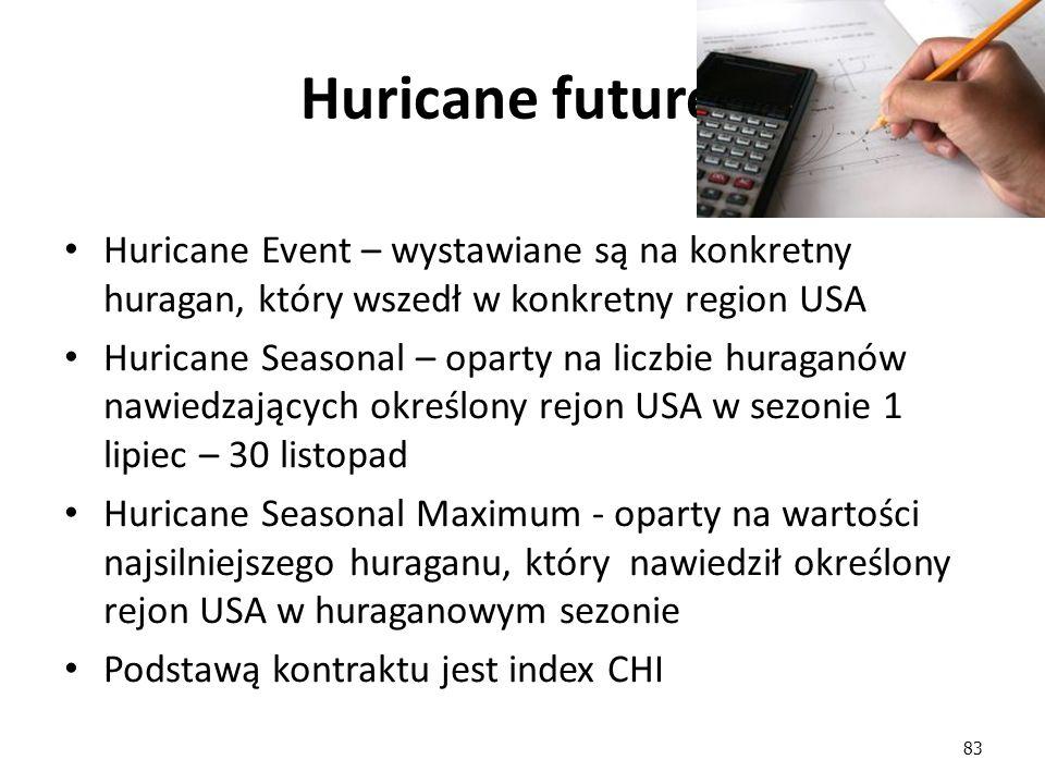 83 Huricane futures Huricane Event – wystawiane są na konkretny huragan, który wszedł w konkretny region USA Huricane Seasonal – oparty na liczbie huraganów nawiedzających określony rejon USA w sezonie 1 lipiec – 30 listopad Huricane Seasonal Maximum - oparty na wartości najsilniejszego huraganu, który nawiedził określony rejon USA w huraganowym sezonie Podstawą kontraktu jest index CHI