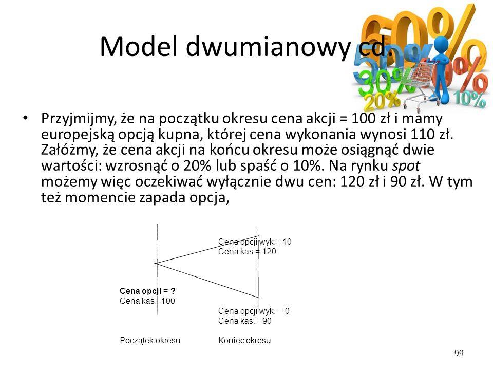 99 Cena opcji wyk.= 10 Cena kas.= 120 Cena opcji = ? Cena kas.=100 Cena opcji wyk. = 0 Cena kas.= 90 Początek okresuKoniec okresu Model dwumianowy cd.