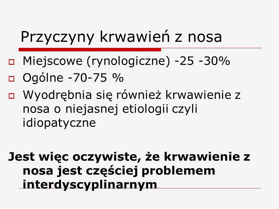 Przyczyny krwawień z nosa  Miejscowe (rynologiczne) -25 -30%  Ogólne -70-75 %  Wyodrębnia się również krwawienie z nosa o niejasnej etiologii czyli idiopatyczne Jest więc oczywiste, że krwawienie z nosa jest częściej problemem interdyscyplinarnym