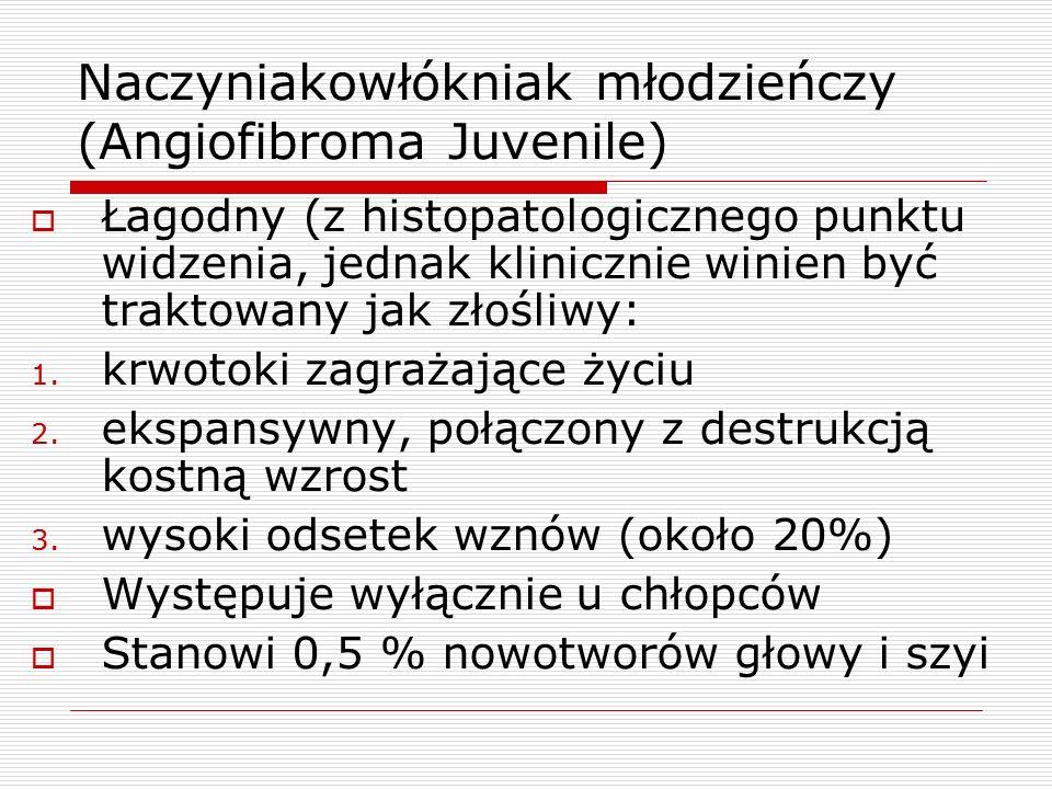 Naczyniakowłókniak młodzieńczy (Angiofibroma Juvenile)  Łagodny (z histopatologicznego punktu widzenia, jednak klinicznie winien być traktowany jak złośliwy: 1.