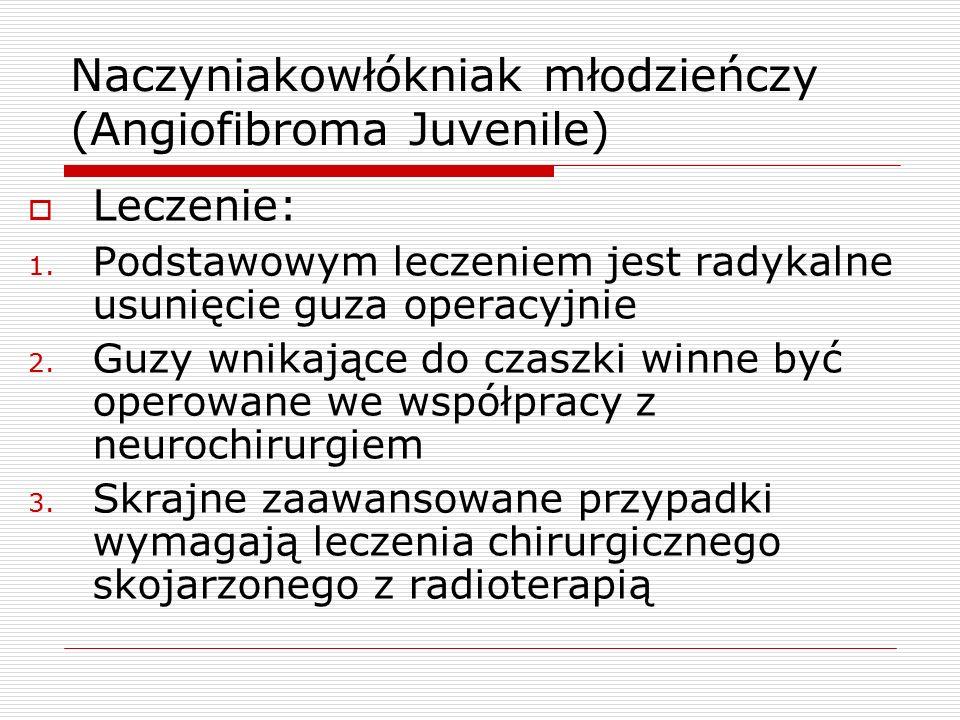 Naczyniakowłókniak młodzieńczy (Angiofibroma Juvenile)  Leczenie: 1.