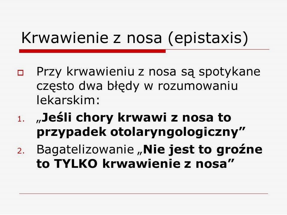 Krwawienie z nosa (epistaxis)  Przy krwawieniu z nosa są spotykane często dwa błędy w rozumowaniu lekarskim: 1.