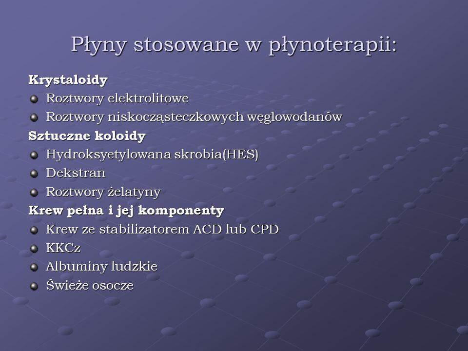 Płyny stosowane w płynoterapii: Krystaloidy Roztwory elektrolitowe Roztwory niskocząsteczkowych węglowodanów Sztuczne koloidy Hydroksyetylowana skrobi