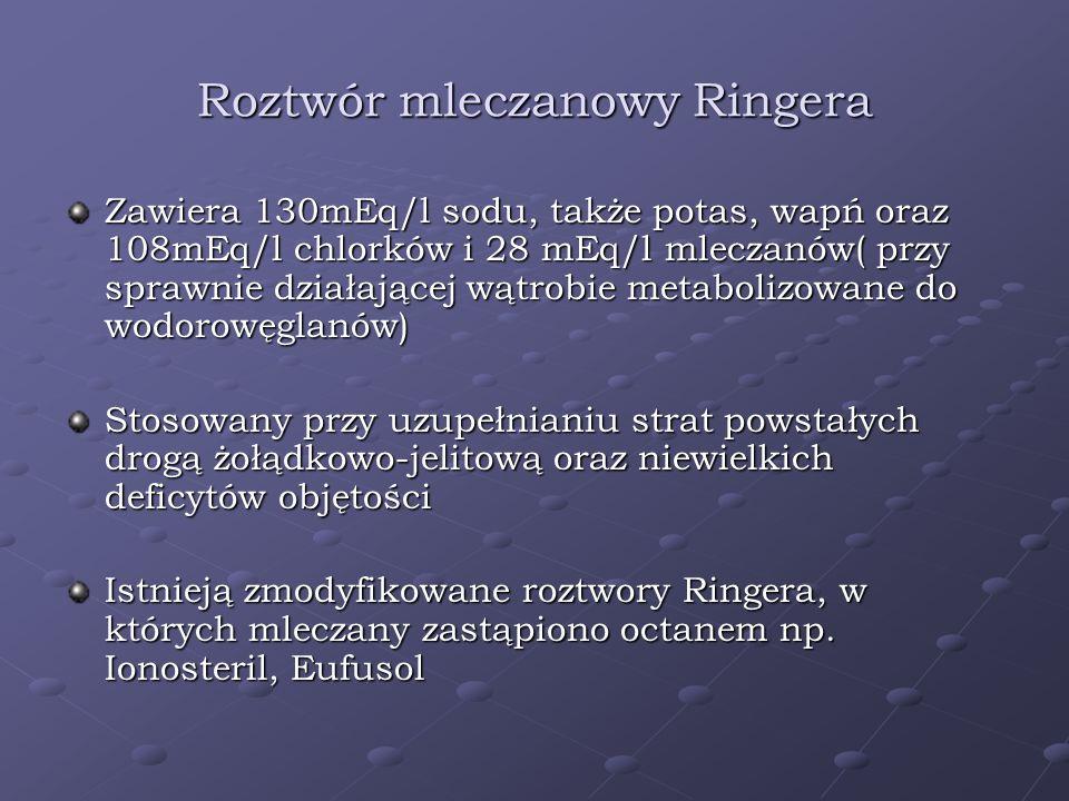 Roztwór mleczanowy Ringera Zawiera 130mEq/l sodu, także potas, wapń oraz 108mEq/l chlorków i 28 mEq/l mleczanów( przy sprawnie działającej wątrobie me