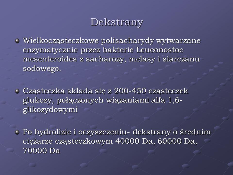 Dekstrany Wielkocząsteczkowe polisacharydy wytwarzane enzymatycznie przez bakterie Leuconostoc mesenteroides z sacharozy, melasy i siarczanu sodowego.