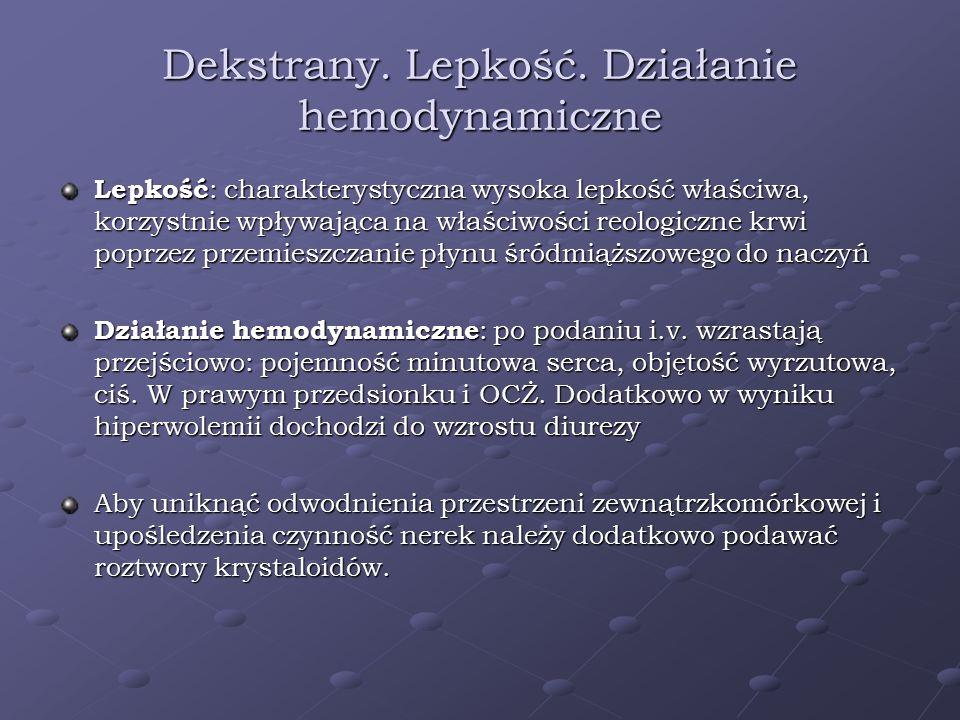 Dekstrany. Lepkość. Działanie hemodynamiczne Lepkość : charakterystyczna wysoka lepkość właściwa, korzystnie wpływająca na właściwości reologiczne krw