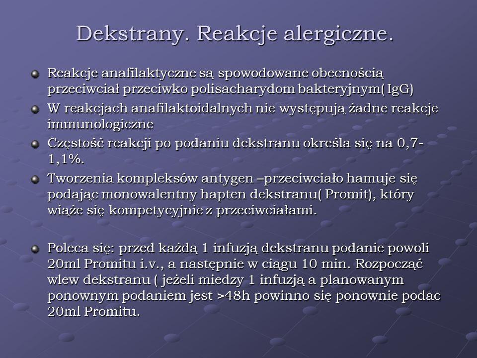 Dekstrany. Reakcje alergiczne. Reakcje anafilaktyczne są spowodowane obecnością przeciwciał przeciwko polisacharydom bakteryjnym( IgG) W reakcjach ana