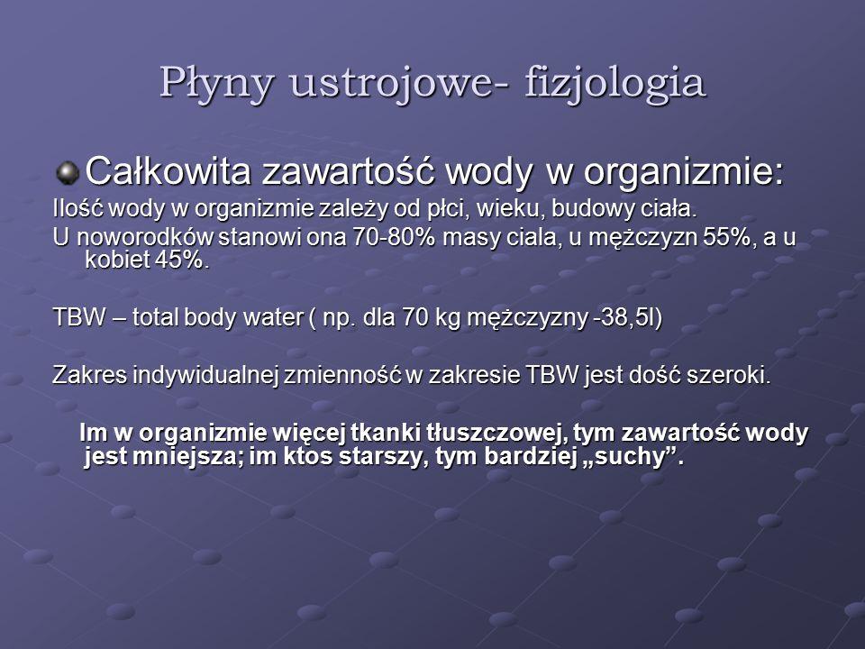 Płyny ustrojowe- fizjologia Całkowita zawartość wody w organizmie: Ilość wody w organizmie zależy od płci, wieku, budowy ciała. U noworodków stanowi o