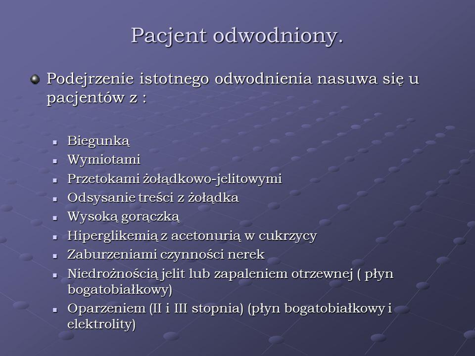 Pacjent odwodniony. Podejrzenie istotnego odwodnienia nasuwa się u pacjentów z : Biegunką Biegunką Wymiotami Wymiotami Przetokami żołądkowo-jelitowymi