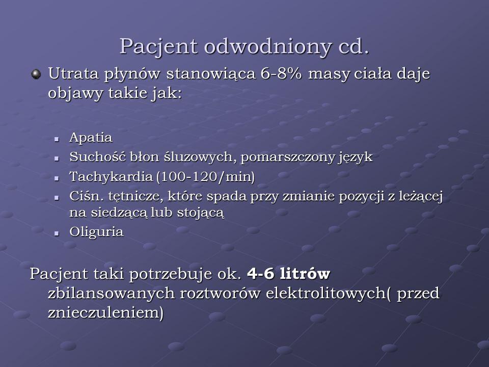 Pacjent odwodniony cd. Utrata płynów stanowiąca 6-8% masy ciała daje objawy takie jak: Apatia Apatia Suchość błon śluzowych, pomarszczony język Suchoś