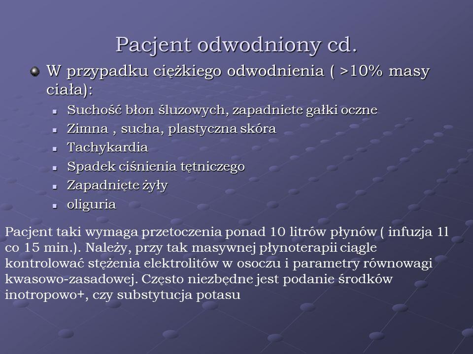 Pacjent odwodniony cd. W przypadku ciężkiego odwodnienia ( >10% masy ciała): Suchość błon śluzowych, zapadniete gałki oczne Suchość błon śluzowych, za