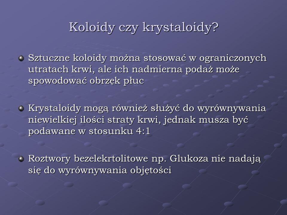 Koloidy czy krystaloidy? Sztuczne koloidy można stosować w ograniczonych utratach krwi, ale ich nadmierna podaż może spowodować obrzęk płuc Krystaloid