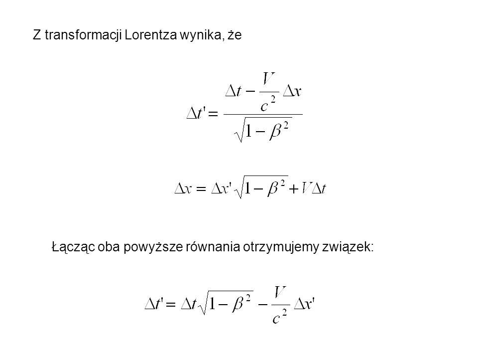 Z transformacji Lorentza wynika, że Łącząc oba powyższe równania otrzymujemy związek: