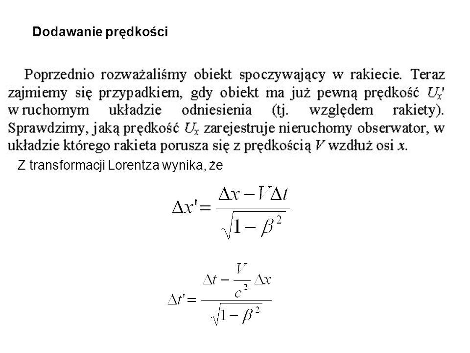 Dodawanie prędkości Z transformacji Lorentza wynika, że