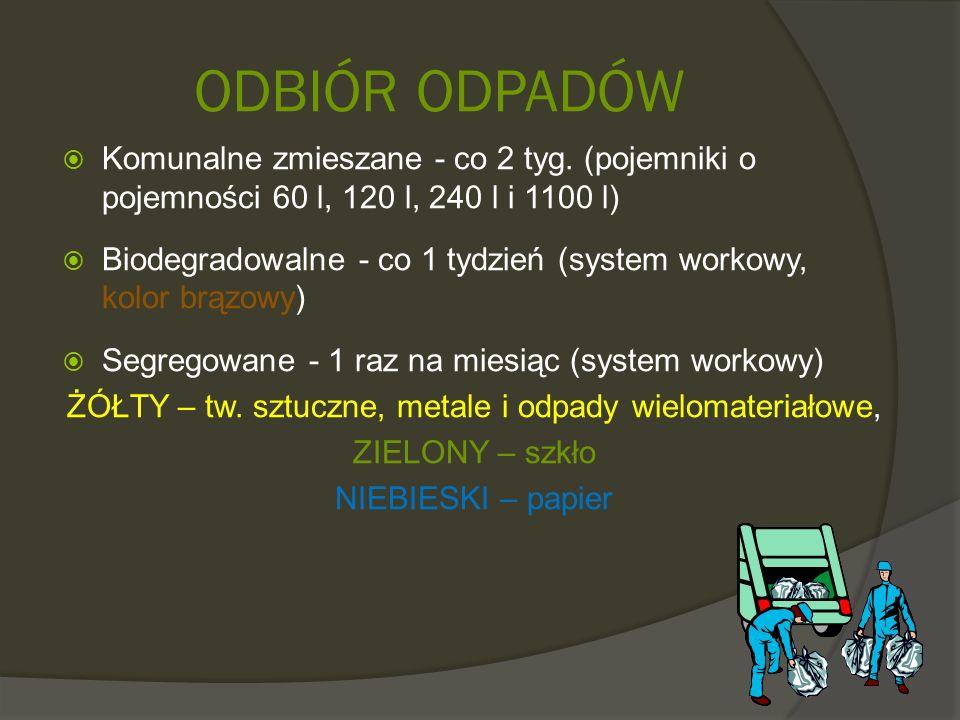 ODBIÓR ODPADÓW  Komunalne zmieszane - co 2 tyg. (pojemniki o pojemności 60 l, 120 l, 240 l i 1100 l)  Biodegradowalne - co 1 tydzień (system workowy