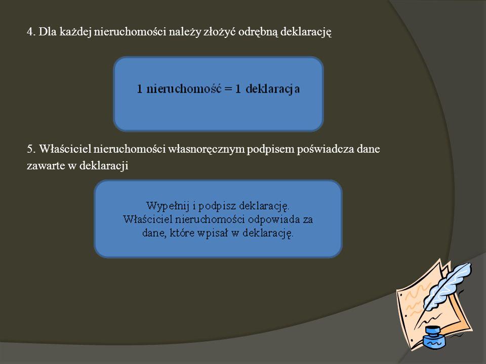 4. Dla każdej nieruchomości należy złożyć odrębną deklarację 5. Właściciel nieruchomości własnoręcznym podpisem poświadcza dane zawarte w deklaracji