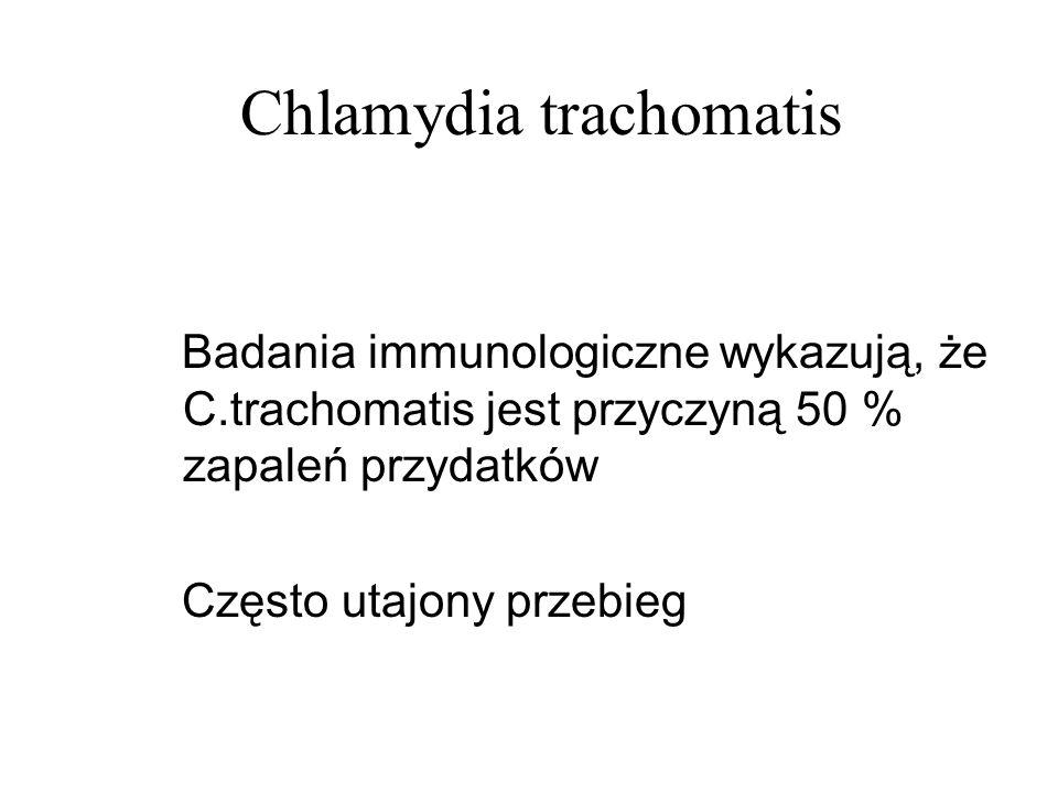 Chlamydia trachomatis Badania immunologiczne wykazują, że C.trachomatis jest przyczyną 50 % zapaleń przydatków Często utajony przebieg