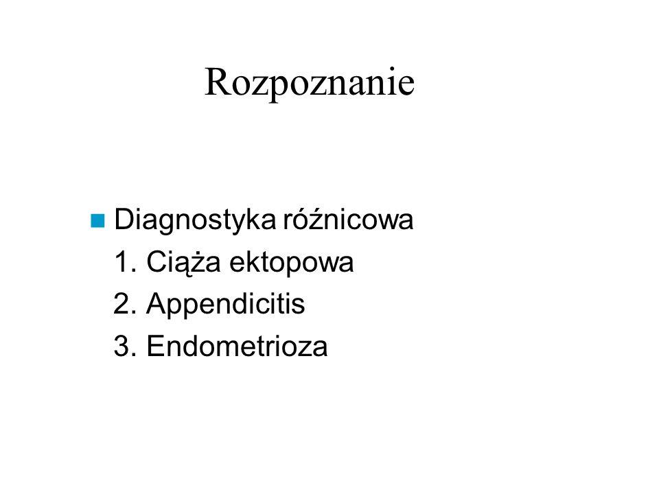 Rozpoznanie Diagnostyka róźnicowa 1. Ciąża ektopowa 2. Appendicitis 3. Endometrioza
