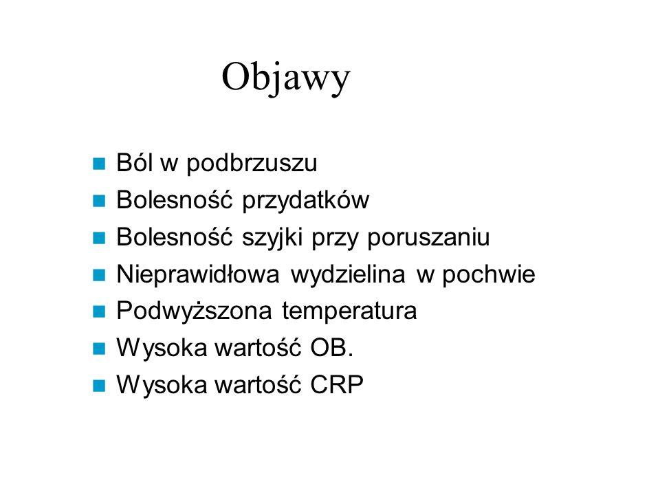 Objawy Ból w podbrzuszu Bolesność przydatków Bolesność szyjki przy poruszaniu Nieprawidłowa wydzielina w pochwie Podwyższona temperatura Wysoka wartość OB.