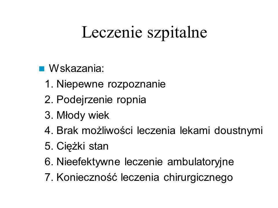 Leczenie szpitalne Wskazania: 1. Niepewne rozpoznanie 2.