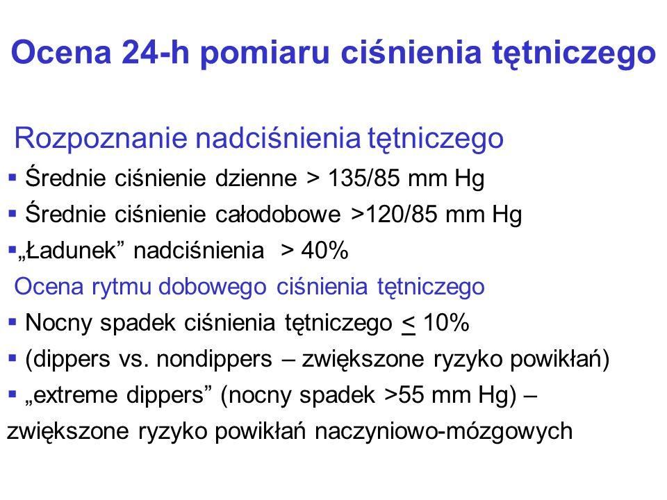 """Ocena 24-h pomiaru ciśnienia tętniczego Rozpoznanie nadciśnienia tętniczego   Średnie ciśnienie dzienne > 135/85 mm Hg   Średnie ciśnienie całodobowe >120/85 mm Hg   """"Ładunek nadciśnienia > 40% Ocena rytmu dobowego ciśnienia tętniczego   Nocny spadek ciśnienia tętniczego < 10%   (dippers vs."""