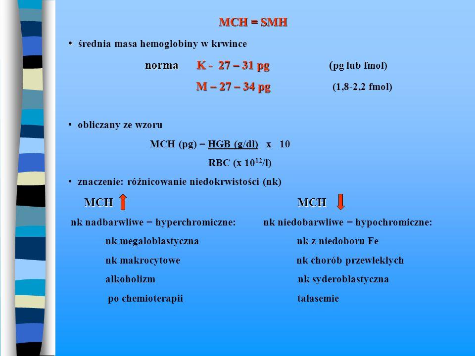 MCH = SMH średnia masa hemoglobiny w krwince norma K - 27 – 31 pg norma K - 27 – 31 pg ( pg lub fmol) M – 27 – 34 pg M – 27 – 34 pg (1,8-2,2 fmol) obl