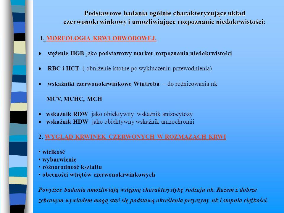 Podstawowe badania ogólnie charakteryzujące układ czerwonokrwinkowy i umożliwiające rozpoznanie niedokrwistości Podstawowe badania ogólnie charakteryz