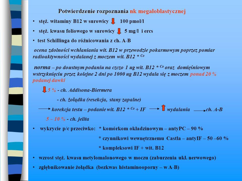 Potwierdzenie rozpoznania Potwierdzenie rozpoznania nk megaloblastycznej stęż. witaminy B12 w surowicy 100 pmol/l stęż. kwasu foliowego w surowicy 5 m
