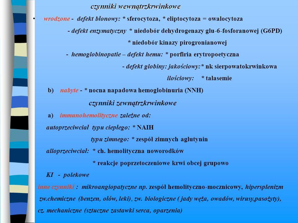 czynniki wewnątrzkrwinkowe czynniki wewnątrzkrwinkowe wrodzone - defekt błonowy: * sferocytoza, * eliptocytoza = owalocytoza - defekt enzymatyczny * n