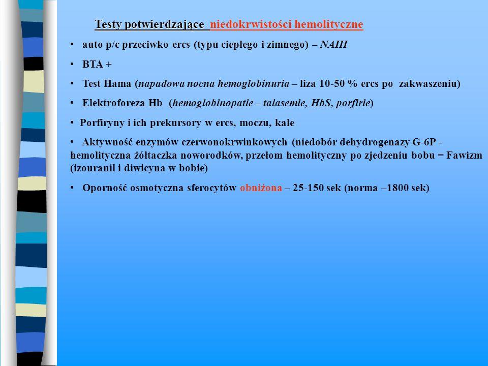 Testy potwierdzające Testy potwierdzające niedokrwistości hemolityczne auto p/c przeciwko ercs (typu ciepłego i zimnego) – NAIH BTA + Test Hama (napad