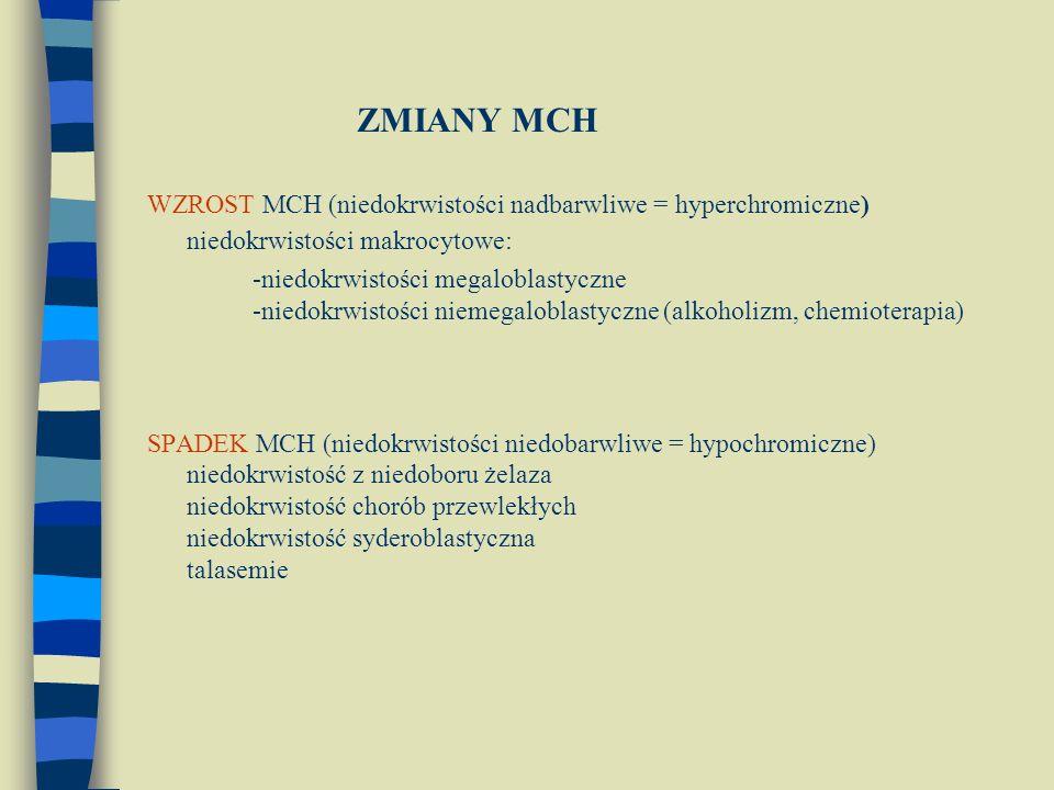 ZMIANY MCH WZROST MCH (niedokrwistości nadbarwliwe = hyperchromiczne) niedokrwistości makrocytowe: -niedokrwistości megaloblastyczne -niedokrwistości niemegaloblastyczne (alkoholizm, chemioterapia) SPADEK MCH (niedokrwistości niedobarwliwe = hypochromiczne) niedokrwistość z niedoboru żelaza niedokrwistość chorób przewlekłych niedokrwistość syderoblastyczna talasemie