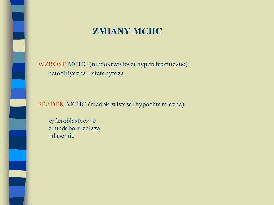 ZMIANY MCHC WZROST MCHC (niedokrwistości hyperchromiczne) hemolityczna – sferocytoza SPADEK MCHC (niedokrwistości hypochromiczne) syderoblastyczne z niedoboru żelaza talasemie