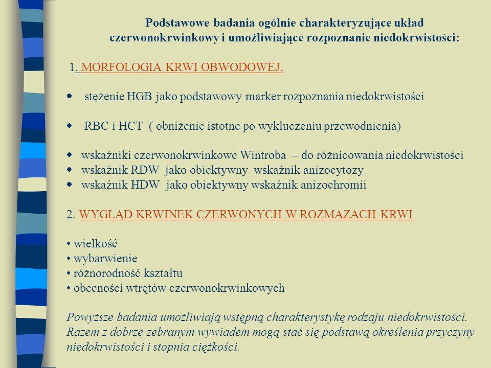 Podstawowe badania ogólnie charakteryzujące układ czerwonokrwinkowy i umożliwiające rozpoznanie niedokrwistości: 1. MORFOLOGIA KRWI OBWODOWEJ.  stęże