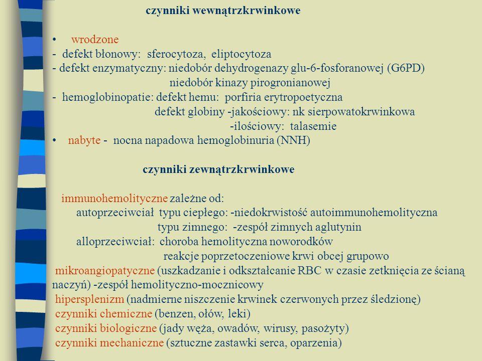czynniki wewnątrzkrwinkowe wrodzone - defekt błonowy: sferocytoza, eliptocytoza - defekt enzymatyczny: niedobór dehydrogenazy glu-6-fosforanowej (G6PD