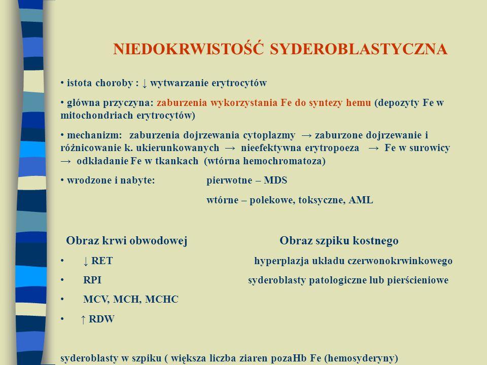 istota choroby : ↓ wytwarzanie erytrocytów główna przyczyna: zaburzenia wykorzystania Fe do syntezy hemu (depozyty Fe w mitochondriach erytrocytów) me