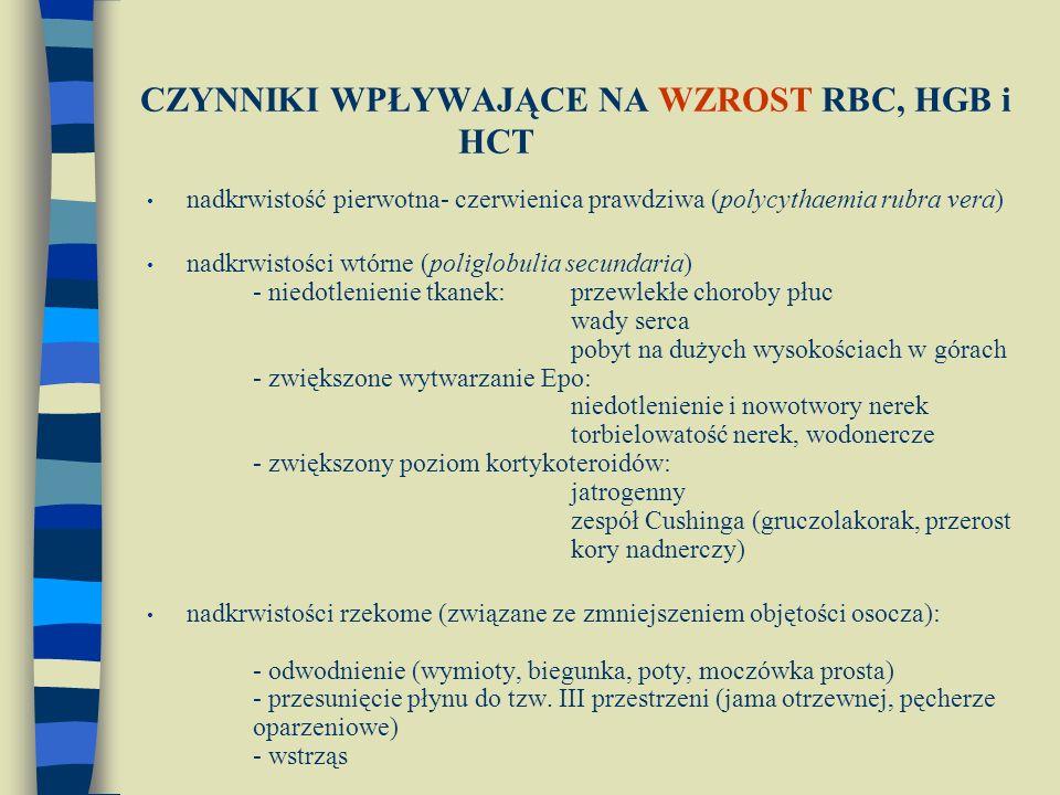 CZYNNIKI WPŁYWAJĄCE NA WZROST RBC, HGB i HCT nadkrwistość pierwotna- czerwienica prawdziwa (polycythaemia rubra vera) nadkrwistości wtórne (poliglobulia secundaria) - niedotlenienie tkanek: przewlekłe choroby płuc wady serca pobyt na dużych wysokościach w górach - zwiększone wytwarzanie Epo: niedotlenienie i nowotwory nerek torbielowatość nerek, wodonercze - zwiększony poziom kortykoteroidów: jatrogenny zespół Cushinga (gruczolakorak, przerost kory nadnerczy) nadkrwistości rzekome (związane ze zmniejszeniem objętości osocza): - odwodnienie (wymioty, biegunka, poty, moczówka prosta) - przesunięcie płynu do tzw.