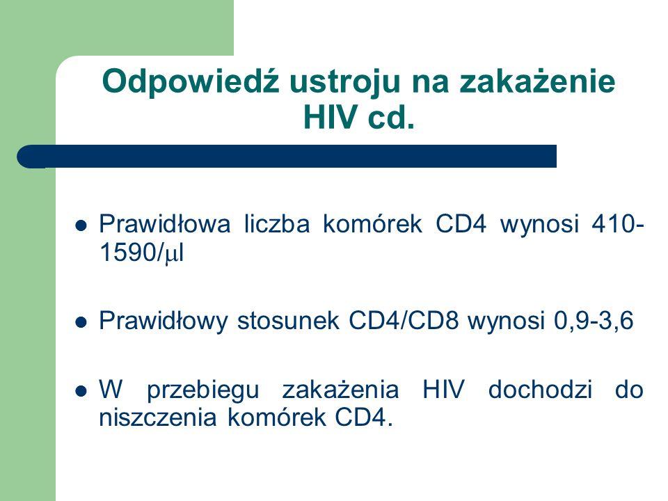 Odpowiedź ustroju na zakażenie HIV cd. Prawidłowa liczba komórek CD4 wynosi 410- 1590/  l Prawidłowy stosunek CD4/CD8 wynosi 0,9-3,6 W przebiegu zaka