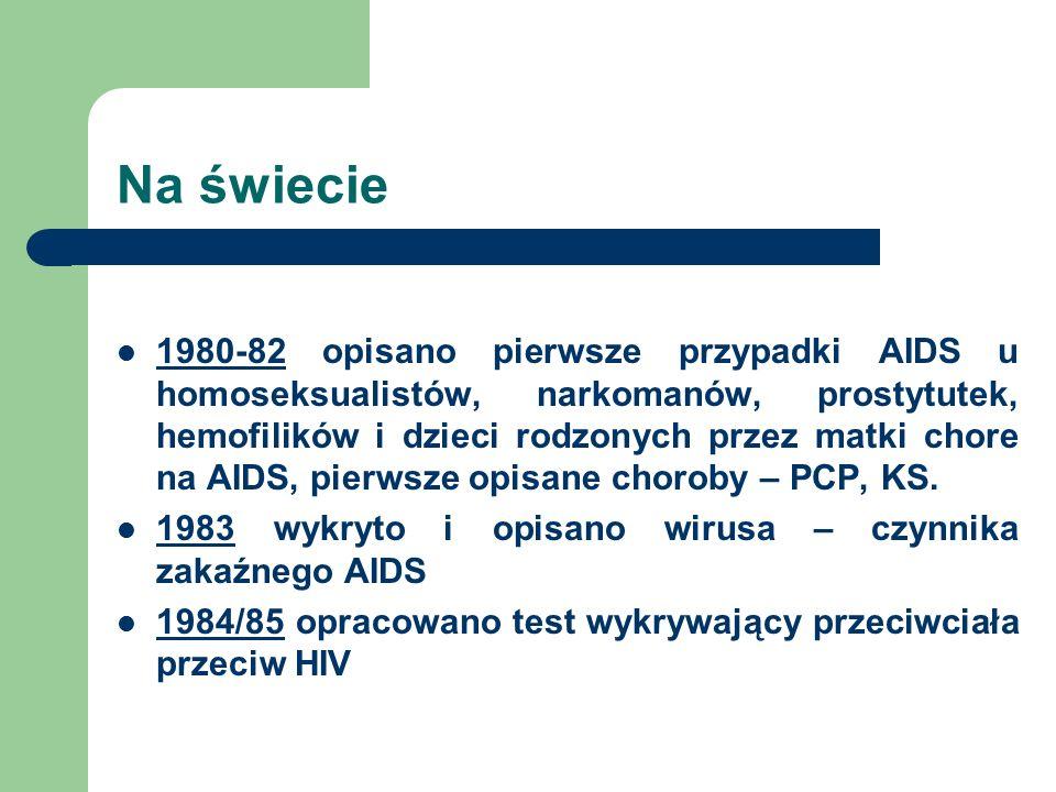 W Polsce 1985 rozpoczęcie badania na obecność p/c anty-HIV u osób z tzw.
