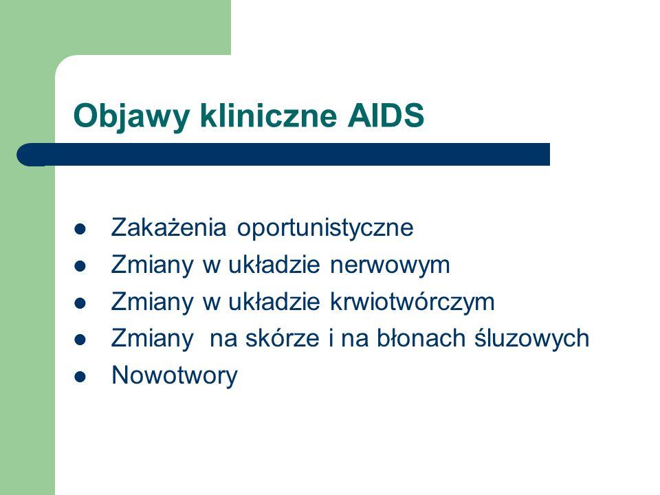 Objawy kliniczne AIDS Zakażenia oportunistyczne Zmiany w układzie nerwowym Zmiany w układzie krwiotwórczym Zmiany na skórze i na błonach śluzowych Now
